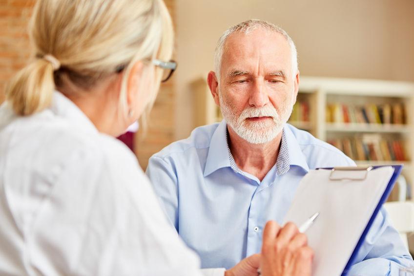 elder man on a clinical date