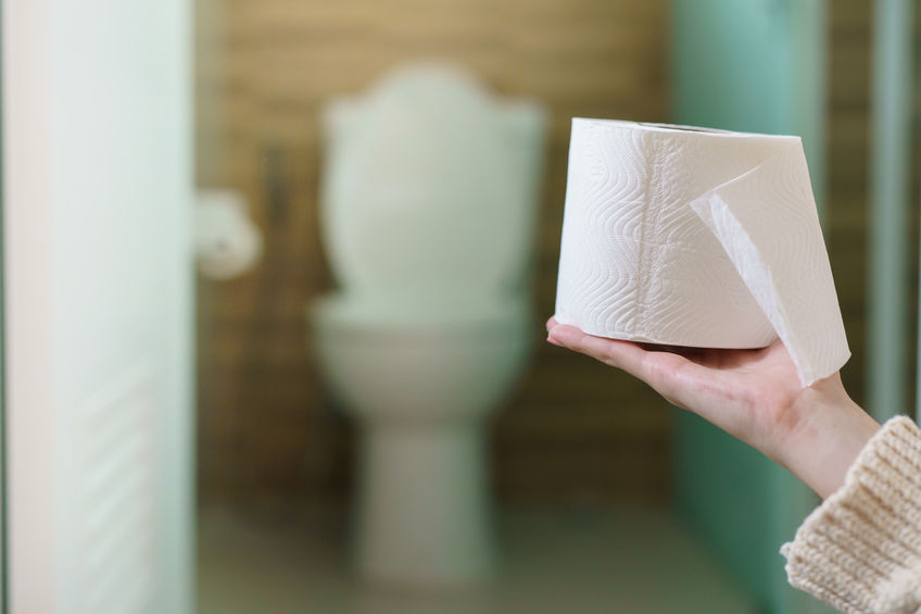 Woman holding toilet paper roll in the front of toilet.